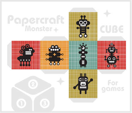 Paper cube for children games and decoration.  Vector