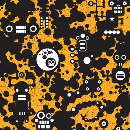 Seamless pattern with monsters.  Vector