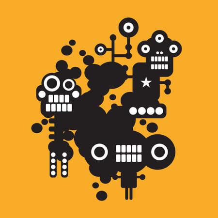 nanotechnology: Three crazy monsters   Illustration