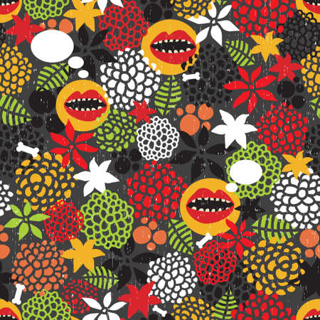 textile image: Seamless pattern with crazy mouth background  Illustration