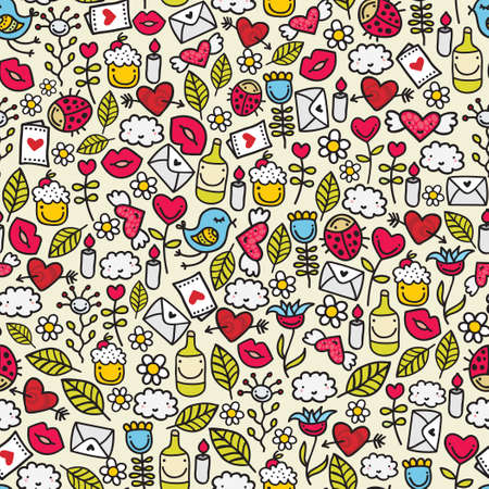 Funny romantic pattern  Doodle background  Vector
