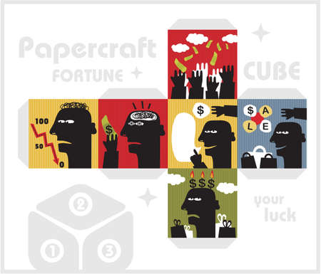 craft man: Paper cube with monsters for luck  Papercraft in vector  Illustration