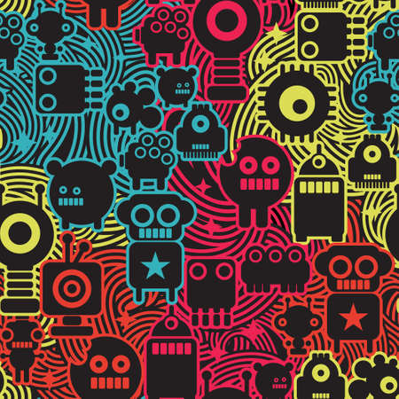 fantasy art: Robot and monsters cool seamless pattern.
