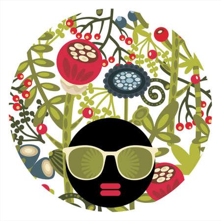 Black head woman with strange pattern hair Stock Vector - 17533705