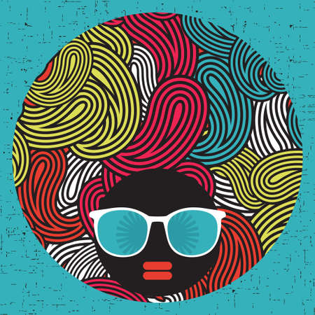 afro girl: Black head woman with strange pattern hair   Illustration