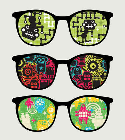 Retro sunglasses with reflection in it   Stock Vector - 17533742