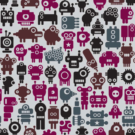 Robot seamless pattern in retro style   Vector