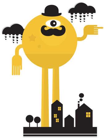 rain window: Monster in the city Illustration