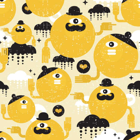 Seamless texture with yellow monsters. Stock Vector - 17533735
