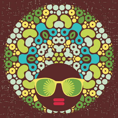 hippy: Black head woman with strange pattern hair  illustration