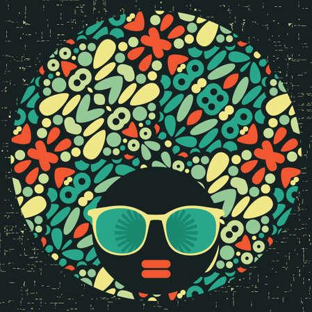 Black head woman with strange pattern hair  illustration Stock Vector - 17680622