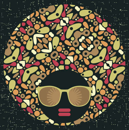 Black head woman with strange pattern hair  illustration Stock Vector - 17680624