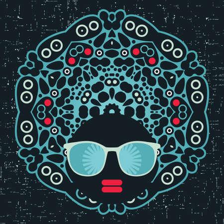 Black head woman with strange pattern hair  illustration Stock Vector - 17680621