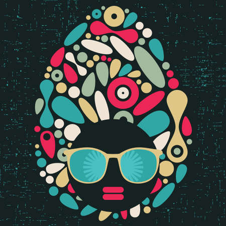 psychedelic background: Black head woman with strange pattern hair  Vector illustration