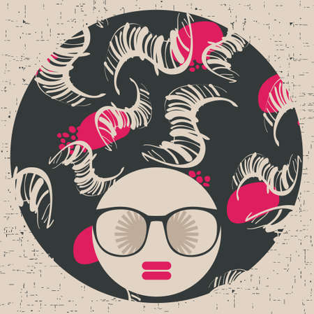 abstract portrait: Black head woman with strange pattern hair   Illustration