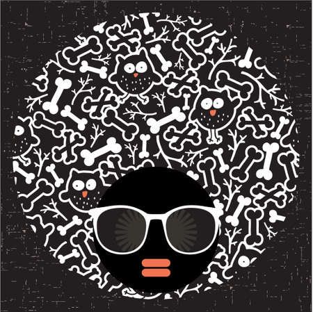 abstract portrait: Black head woman with strange pattern hair  Vector illustration