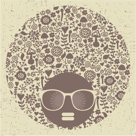 Testa della donna nera con strana Illustrazione vettoriale di capelli