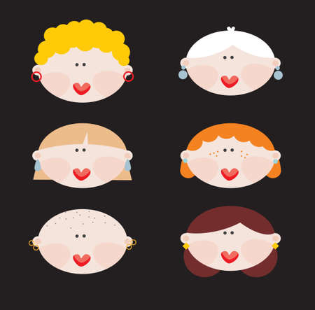 Six faces of cute women  Vector illustration Stock Vector - 18083566