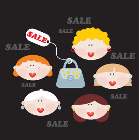 Women and SALE  Vector illustration  Stock Vector - 18083575