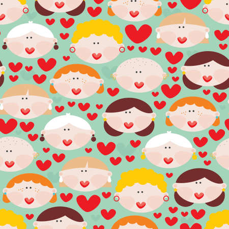 Seamless pattern with female faces and hearts   Vector