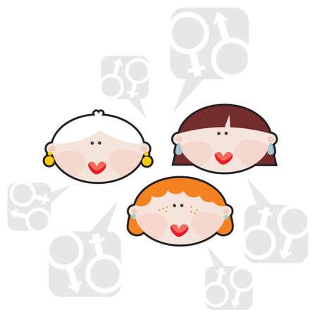 Female conversations  Vector illustration Stock Vector - 18083572
