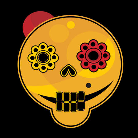 Funny skull face  Vector illustration  Vector