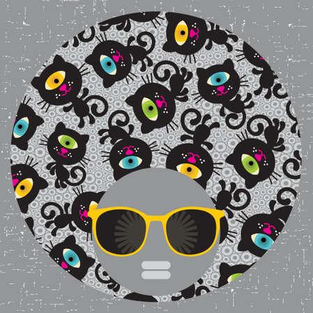 Black head woman with strange pattern hair Stock Vector - 18237101