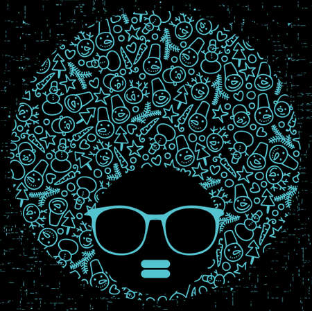 Black head woman with strange pattern hair Stock Vector - 18344531