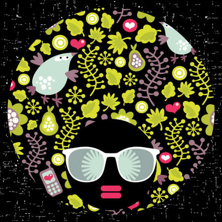 Black head woman with strange pattern hair  Vector illustration Stock Vector - 18511813