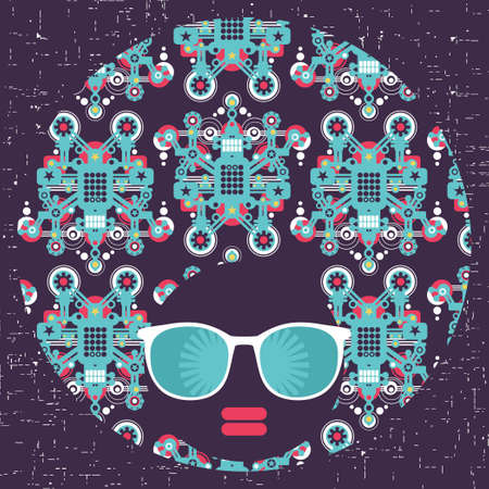 Black head woman with strange pattern hair  Vector illustration Stock Vector - 18511820