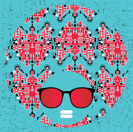 Black head woman with strange pattern hair  Vector illustration  Stock Vector - 18511822