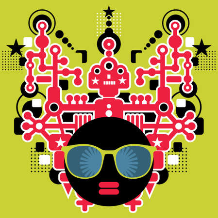 animated alien: Black head woman with strange pattern hair   illustration  Illustration