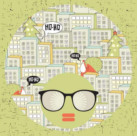 Black head woman with strange pattern hair   illustration  Vector