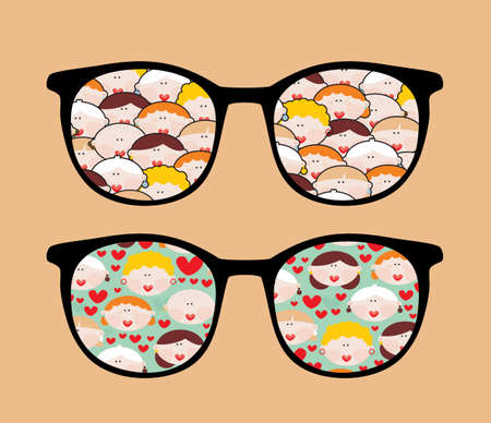 Retro sunglasses with women reflection in it  Vector