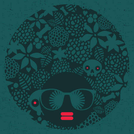 Black head woman with strange pattern on her Vector illustration  Vector