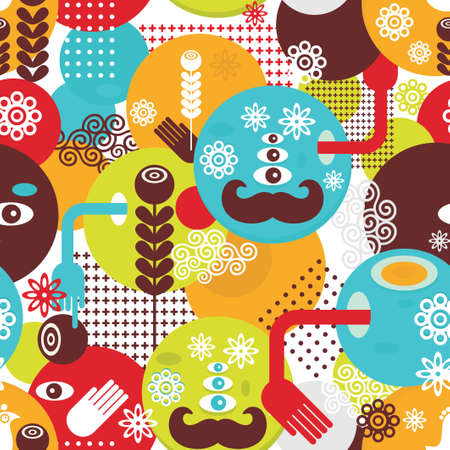 Colorful spring monsters seamless pattern  illustration  Vector