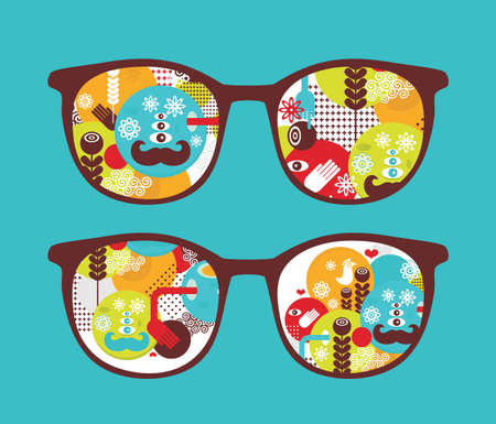 Retro sunglasses with spring  reflection in it illustration of accessory - eyeglasses isolated  Vector