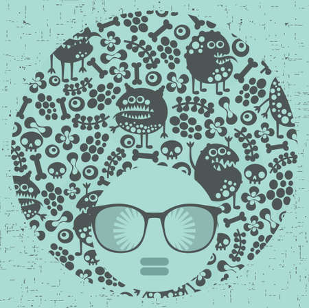crazy frog: Black head woman with strange pattern on her hair  Vector illustration