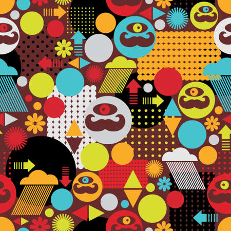Colorful spring monsters seamless background illustration  Vector