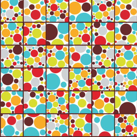 Seamless cell background with colorful dots illustration  Vector