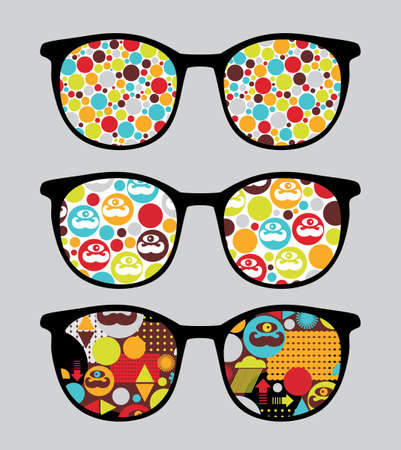 sunglasses reflection: Retro sunglasses with bright reflection in it