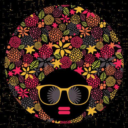 Mujer cabeza de negro con el modelo extraño en su ilustración del cabello