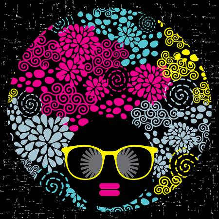disco symbol: Black head woman with strange pattern on her hair illustration