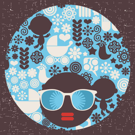Black head woman with strange pattern on her hair  Vector illustration  Vector