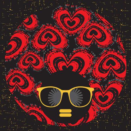Black head woman with strange pattern hair  Vector illustration