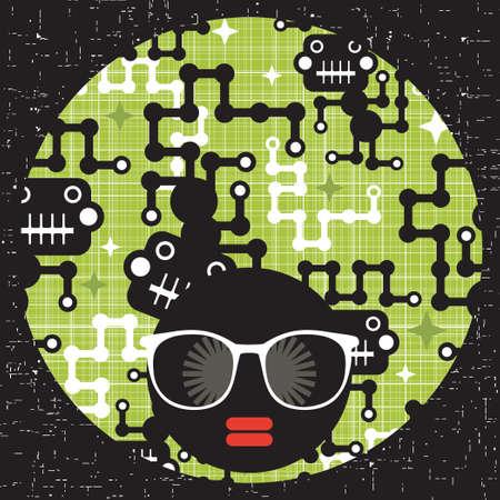 Black head woman with strange pattern hair  Vector illustration Stock Vector - 19313449