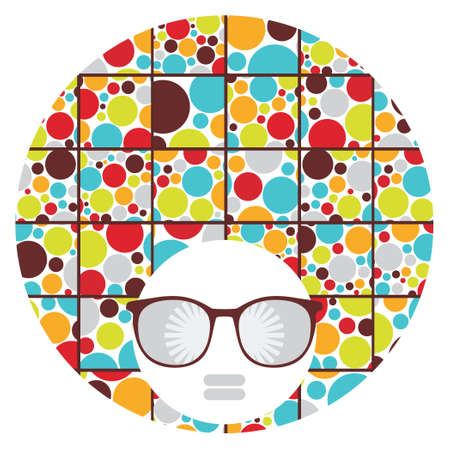 Black head woman with strange pattern hair  Vector illustration  Vector