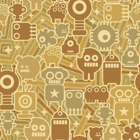 Retro seamless background with robots  Vector texture  Vector