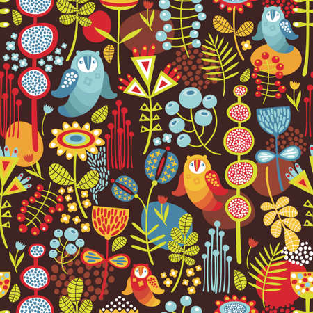 baby animals: Seamless background with owls  Vector nature pattern