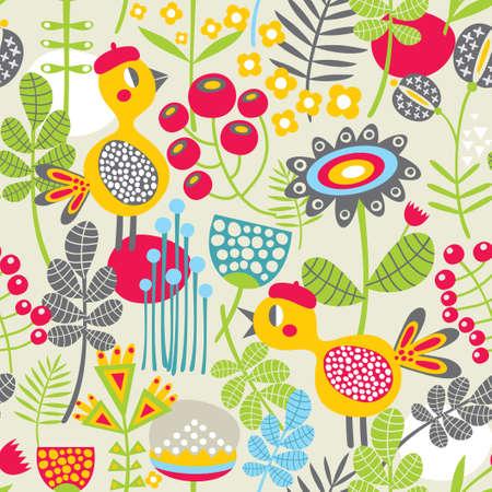 Naadloos patroon met vogel in rood hoofd Cute vector achtergrond Stock Illustratie